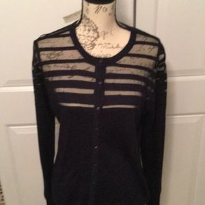 Sheer topped fitted cardigan .